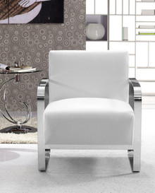 Divani Casa Brizo Modern White Leather Lounge Chair