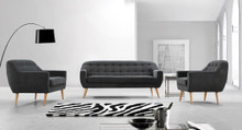 Divani Casa Afton Modern Grey Fabric Sofa Set