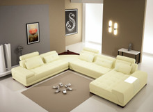 Divani Casa 5005B - Modern Bonded Leather Sectional Sofa Cream
