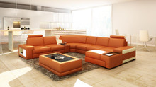 Divani Casa 5103 Modern Bonded Leather Sectional Sofa w/ Audio System