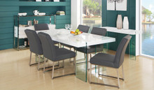 DS 0776 Tempered Glass White Gloss Dining Table