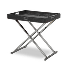 A&X Cecilia Black Crocodile Tray Table