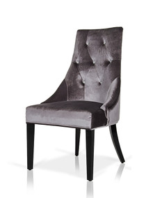 A&X Charlotte Grey Velour Dining Chair