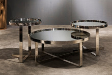 Modrest Wilcox Contemporary Mirrored Coffee Table Set