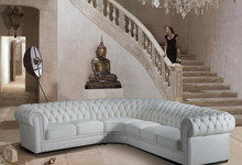 Paris 1 Transitional Tufted Leather Sectional Sofa Bonded Leather