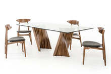 Modrest Corbin Modern Walnut & Glass Dining Table
