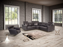 Estro Ethan & Emory Modern Black Leather Sectional & Chair Set