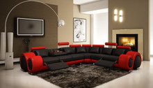Divani Casa 4087 - Modern Leather Sectional Sofa Black Red