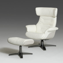 Divani Casa Ray Modern White and Grey Chair & Ottoman Set