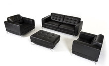 Divani Casa Larkspur Modern Black Bonded Leather Sofa Set