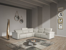 Estro Palinuro Modern Grey Leather Sectional Sofa