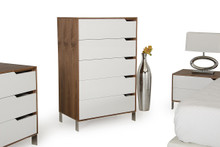 Modrest River Modern White & Walnut Chest