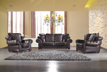 AE-D803-DB 3Pcs Dark Brown Leather Sofa Set
