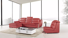 AE-L729R-RED 3pcs Red Adjustable Headrest Sectional Sofa Set