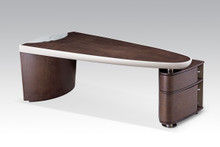 Modrest Nolan Modern Brown Oak & Grey Desk w/ Cabinet