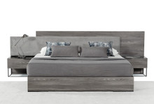 Modrest Enzo Italian Modern Grey Walnut & Fabric Bed