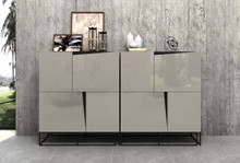 Modrest Hope Modern Grey Gloss Tall Buffet