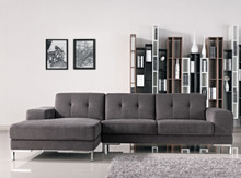 Divani Casa Forli Modern Grey Fabric Sectional Sofa Left Facing Chaise