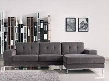 Divani Casa Forli Modern Grey Fabric Sectional Sofa Right Facing Chaise