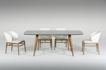 Modrest Kipling Modern Smoked Glass & Walnut Dining Table