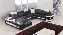 EK-L405 Black and White Genuine Leather Sectional