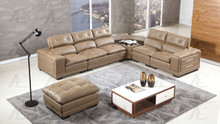 EK-L121 Taupe Genuine Leather Sectional