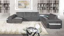 EK-L406 Gray Genuine Leather Sectional