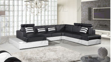 AE-L900 Black and White Faux Leather Sectional