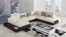 AE-L900 Ivory and Brown Faux Leather Sectional