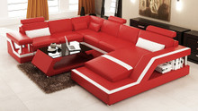 6139 Modern Red and White Leather Sectional Sofa