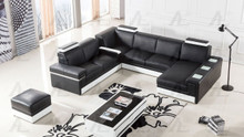 EK-L402 Black Genuine Leather Sectional