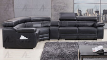 EK-L516 Black Genuine Leather Sectional