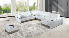 EK-L402 White Genuine Leather Sectional