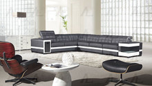 EK-L400 Black and White Genuine Leather Sectional