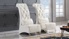 AE505 White Faux Leather Accent Chair