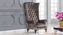 AE506 Gray Fabric Accent Chair