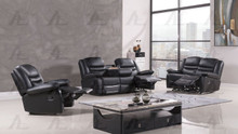 AE-D823 Black Faux Leather Recliner Sofa Set