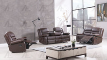 AE-D823 Dark Brown Faux Leather Recliner Sofa Set