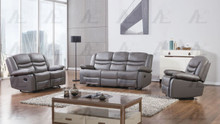 AE-D823 Dark Gray Faux Leather Recliner Sofa Set