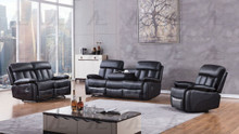 AE-D825 Black Faux Leather Recliner Sofa Set