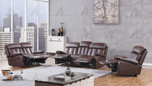 AE-D825 Dark Brown Faux Leather Recliner Sofa Set