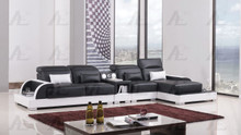 AE-LD812 Black and White Faux Leather Sectional