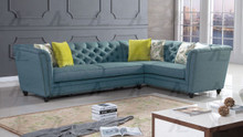 AE-L2219 Blue Fabric Sectional