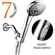 HotelSpa® AquaCare Series Ultra-Luxury 7-Setting Hand Shower with Patented On/Off Pause Switch and Stretchable Hose (Chrome)