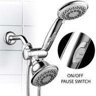 Hotel Spa® 30-Setting Ultra-Luxury Spiral 3-Way Combo with Pause Switch (Chrome)