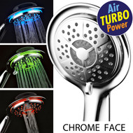 PowerSpa® All-Chrome LED Handheld Shower with Air Turbo Pressure-Boost Nozzle Technology