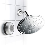 HotelSpa® Ultra-Luxury 7-Setting 7-inch Chrome Rainfall Shower Head & Waterproof Bluetooth Shower Speaker