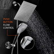 "Dream Spa® Ultra-Luxury 9"" Rainfall Shower Head/Handheld Combo. Convenient Push-Button Flow Control Button for easy one-handed operation. Switch flow settings with the same hand! Premium Chrome"