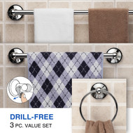HotelSpa® Insta-Mount Bathroom Accessories 3 Piece Value Set (Towel Ring, 18-inch and 24-inch Towel Bars)