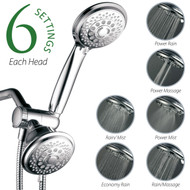 Hotel Spa® 30-Setting Dual Shower Heads Combo includes Overhead Showerhead and Handshower | 3-Way Water Diverter with Angle-Adjustable Bracket | Extra Long 6 ft. Stainless Steel Shower Hose